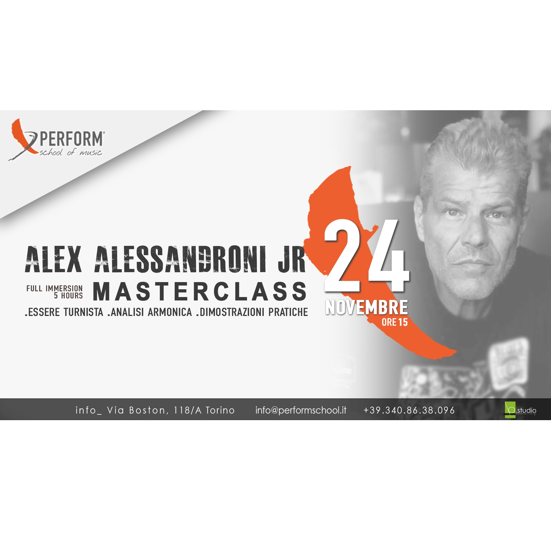 Masterclass con Alex Alessandroni Jr presso la Perform School of music Torino